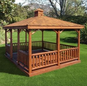 Cabinfield  Rectangle Cedar Log Gazebo Kit