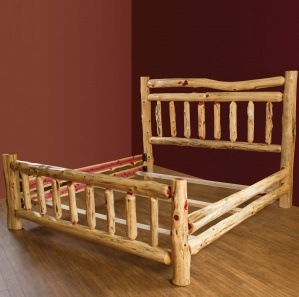 Red Cedar Double Top Rail Amish Bed
