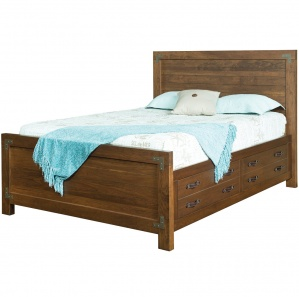 Williamsport Amish Bed with Drawer Unit Option