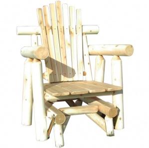 White Cedar Log Amish Glider Set