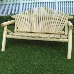 White Cedar Log Amish Bench