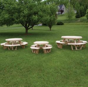 White Cedar Round Amish Picnic Table