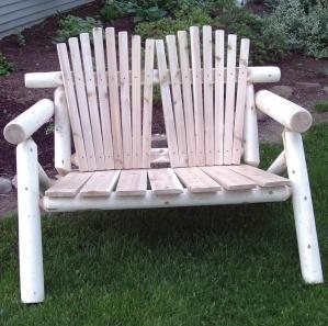 White Cedar Log Adirondack Amish Bench