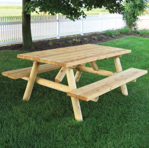 White Cedar Log Amish Picnic Table