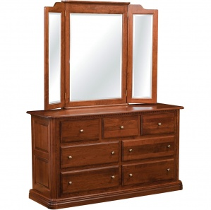 Bellemeade 7 Drawer Amish Dresser and Optional Mirror