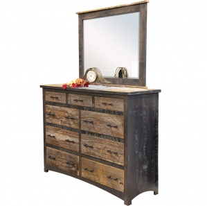 Reclaimed Barn Floor Amish Dresser with Mirror Option
