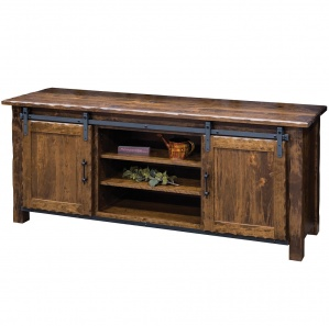 Hand Hewn Amish TV Stand with Sliding Barn Door