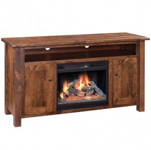 Barn Floor Fireplace Amish TV Stand