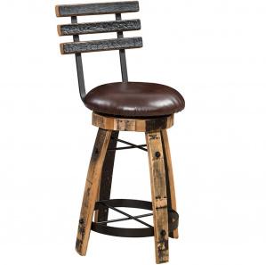 Olde Tavern Upholstered Amish Bar Stools With Back