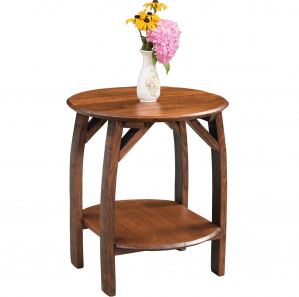 King's Inn Barrel Stave Oak Amish End Table