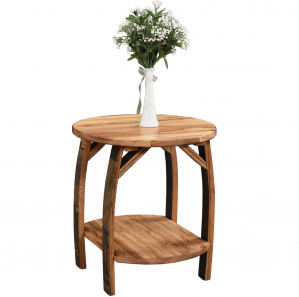 King's Inn Barrel Stave Round Amish End Table