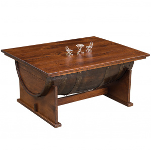 King's Inn Half Barrel Amish Coffee Table with Lift Top