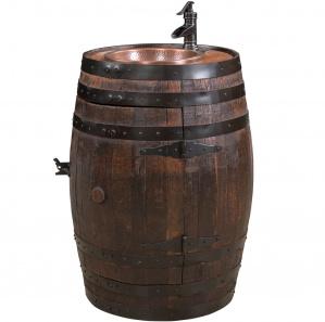 King's Inn Barrel Wet Amish Bar with Sink