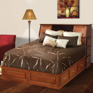 Merrill Hill Quick Ship Amish Platform Bed with Drawers