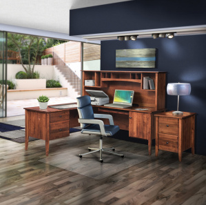 Horizons Amish L Desk with Hutch Option and File Cabinet