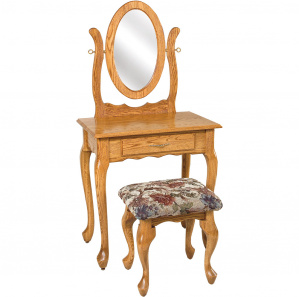 Queen Anne Amish Dressing Table with Mirror