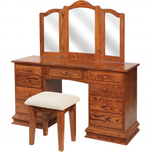 """56"""" Deluxe Clock Base Dressing Table with Mirror"""
