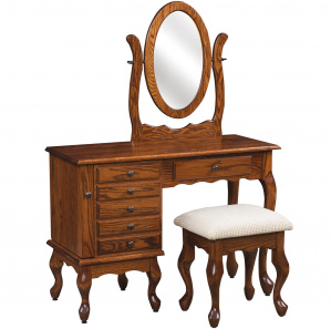 """42"""" Queen Anne Jewelry Amish Dressing Table with Mirror"""
