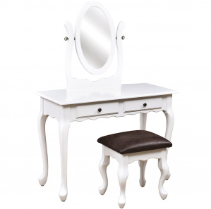 """42"""" Queen Anne 2 Drawer Amish Dressing Table with Mirror"""