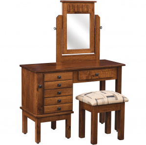 """42"""" Mission Jewelry Amish Dressing Table with Mirror"""