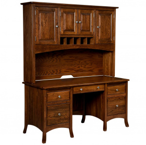 Summerfield Double Pedestal Amish Desk with Hutch Option