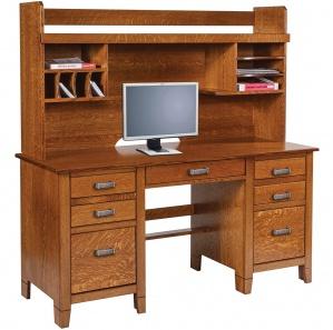 Jacobson Double Pedestal Bookshelf Desk & Optional Hutch