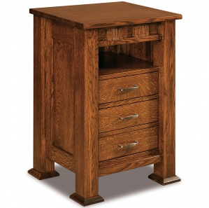 Sequoyah 3 Drawer Amish Nightstand with Opening