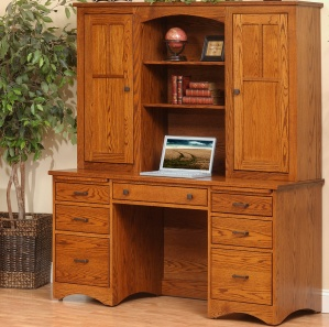 Prairie Mission Pencil Desk With Hutch Option