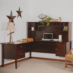 Horizons L Desk & Optional Amish Hutch