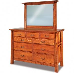 Artesa 9 Drawer High Amish Dresser & Optional Mirror