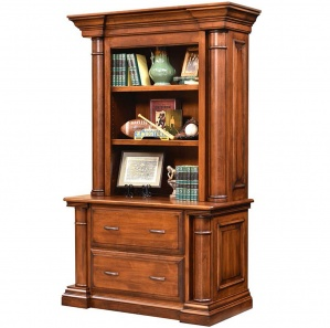 Paris Lateral Amish File Cabinet with Bookshelf Option