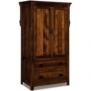 Stick Mission 2 Drawer Amish Armoire