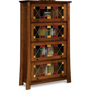 Modesto Stained Glass Barrister Amish Bookcase