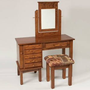 """42"""" Mission Jewelry Dressing Table with Mirror and Stool"""