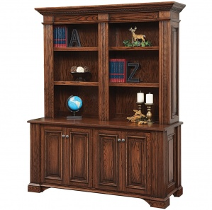 Lincoln Double Office Cabinet & Optional Amish Hutch