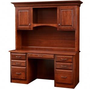 Hampton Double Pedestal Amish Desk & Hutch