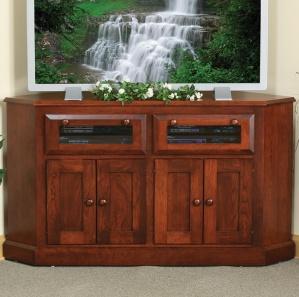 North Hill Recessed Panel Corner Amish TV Cabinet