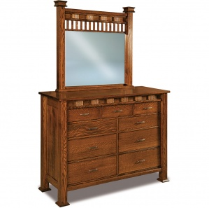 Sequoyah 9 Drawer Amish Dresser with Mirror Option