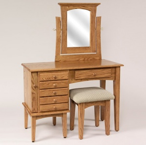 """42"""" Shaker Jewelry Dressing Table with Mirror and Stool"""
