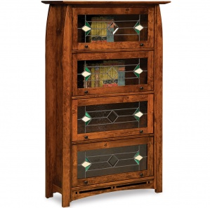 Boulder Creek Leaded Glass Barrister Amish Bookcase
