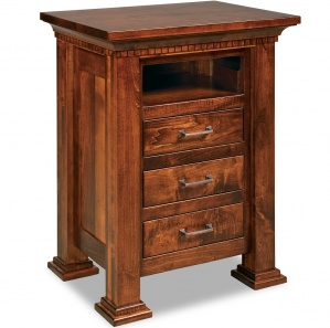 Empire 3 Drawer Amish Nightstand with Opening