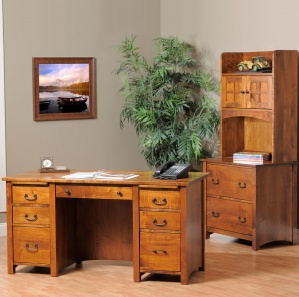 Rivertowne Amish Desk & Lateral File with Hutch