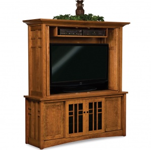 Kascade TV Cabinet and Hutch with Bi-Fold Pocket Doors