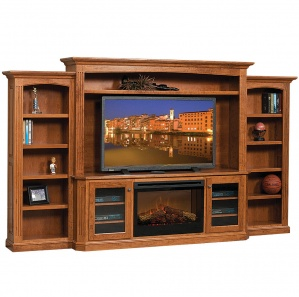 Buckingham Amish Entertainment Center with Fireplace