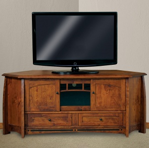 Boulder Creek Large Corner Amish TV Cabinet