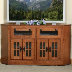 North Hill Mullioned Glass Corner Amish TV Cabinet