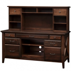 Newport Large Computer Credenza & Amish Hutch