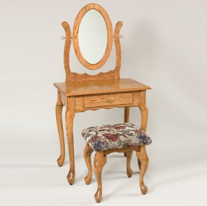 Queen Anne 1 Drawer Dressing Table with Mirror and Stool