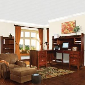Jacobsville Corner Desk/Amish Bookcase Suite & Optional Hutch