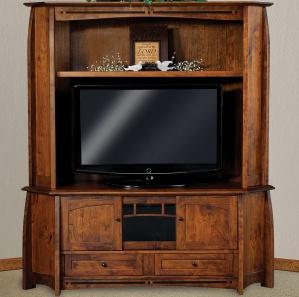 Boulder Creek Corner Amish TV Cabinet & Hutch